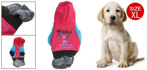 Pet Dog Winter Stretchy Cuffs Fuchsia Blue Dress Size XL