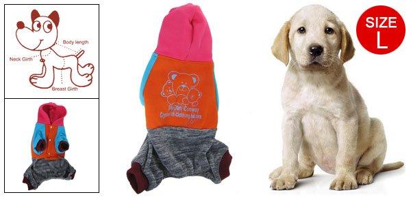 Dog Apparel Ribbed Cuff Bear Pattern Jumpsuit Orange Blue L