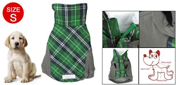 Fleece Collar Green Gray Lattice Dog Pet Clothes S
