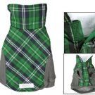 Fleece Collar Green Gray Lattice Dog Pet Clothes S