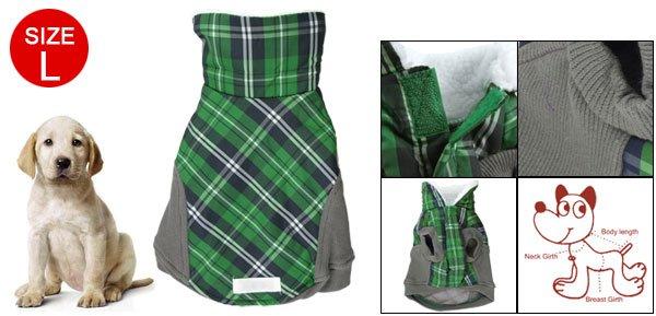 Gray Green Hook Loop Fastener Check Print Dog Clothes L