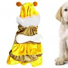XS Bee Style Yellow Coffee Tiered Dress Apparel for Pet Dog
