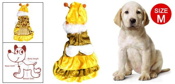 Size M Bee Style Yellow Coffee Velvet Dress Pet Dog Apparel