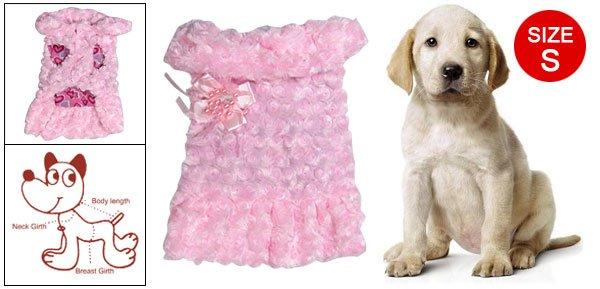 Dog Pet Pink Plush Winter Coat Apparel w Brooch Size S