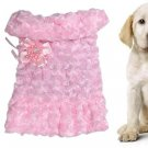 Dog Pet Pink Plush Winter Coat Apparel w Brooch Size S