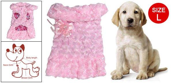 Pet Dogs Winter Warm Pink Bead Bowknot Brooch Plush Coat Size L