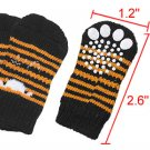 Puppy Yellow Black Striped Knitted Non-slip Socks 4pcs