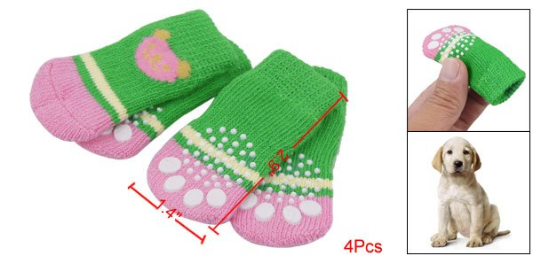 4Pcs Bear Head Patterns Soft Socks Green Pink for Pet Puppy Dog