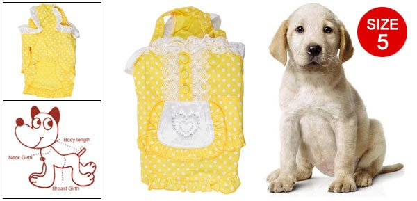 Doggie Size 5 White Dots Lace Trim Buttons Decor Elastic Strap Yellow Maid Dress