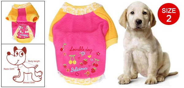 Size 2 Pink Yellow Strawberry Cherry Printed Lace Rim Pet Warm Clothes