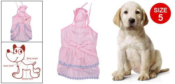 Pink Size 5 Striped Pattern Lace Hem Spaghetti Strap Dress for Pet Dog
