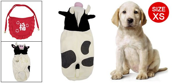 Pink Nose Cow Hoode Black White Jumpsuit for Dog Pet XS