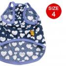 Blue Hem Hearts Pattern Cyan Tank Shirt Size 4 for Dog