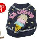 Doggy Ice Cream Pattern Stars Print Blue T-shirt Size 1