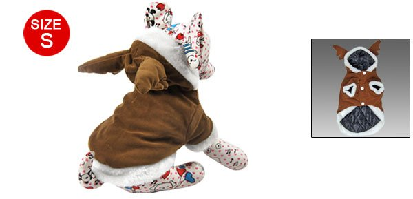 Brown Padded Lined Dog Puppy Deer Horn Shaped Hood Jacket S
