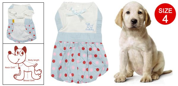 Cornflower Blue White Dots Print Bowknot Decor Bubble Dress Size 4 w Head Scarf for Pet Dog