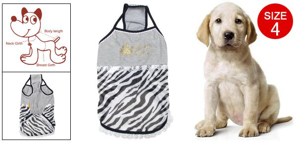 Zebra Striped Gauze Lace Hem Strap Dress Size 4 for Dog