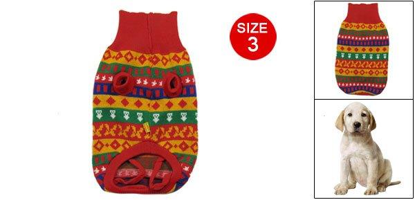 Pet Dog Size 3 Colorful Geometric Pattern Knitted Sweater