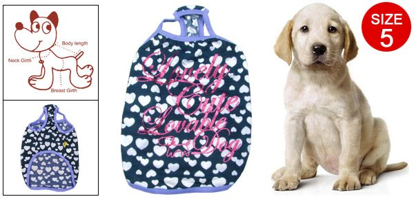 Puppy Hearts Pattern English Words Print Cyan Tank Top Size 5