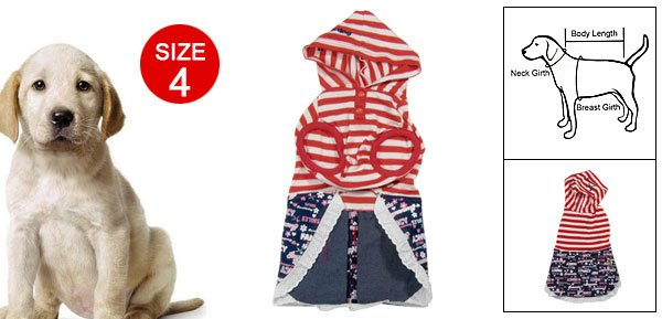 Sailor Style Striped Hooded Jeans Dress Size 4 for Doggie