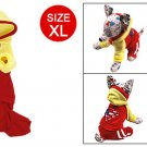 Red Yellow Hoodied Clothes Sz XL Jumpsuit for Puppy Dog