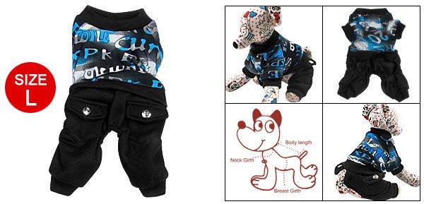 Dog Printed Shirt Romper Pants Jumper Suit Pet Clothing L