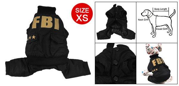 Dog Pet Black Elastic Hem Button Closure Jumpsuit Size XS