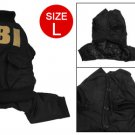 Size L Button Closure Black Jumpsuit Apparel for Dog Pet