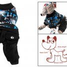 Pet Dog Number Print Shirt w Pocket Pants Romper Suit Apparel XS