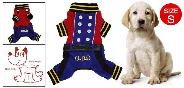 Blue Red Autumn Button Design Dog Puppy Apparel Jumpsuit Size S