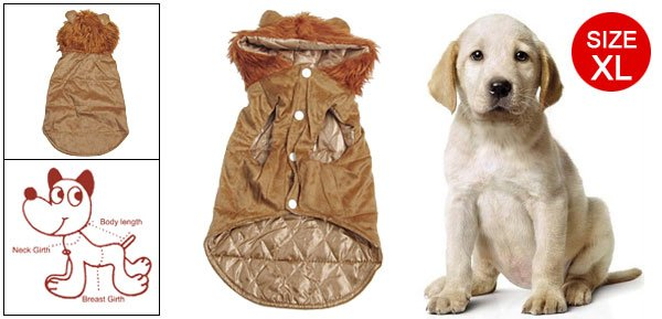 Puppy Dog Brown Hoodie Coat Warm Apparel Clothes Sz XL