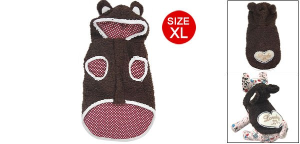 Hoody Sleeveless Heart Pattern Brown Coat Clothes for Dog Size XL