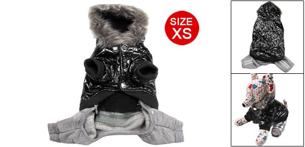 Black Faux Leather Hoodie Coat w Pants Pet Apparel for Puppy Dog XS