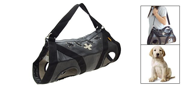 Multifuctional Dog Puppy Travel Shopping Carrier Carry Bag PU Black Size L