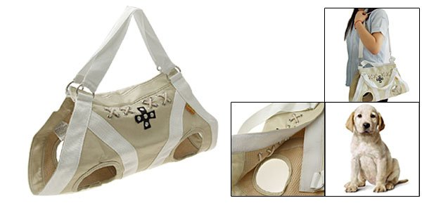 Size M Pet Dog Puppy Travel Shopping Carrier Carry Bag PU Beige