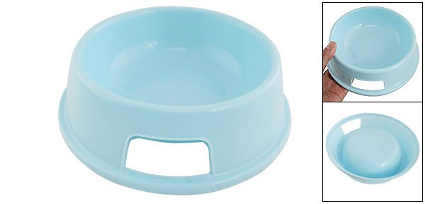 Dog Pet Baby Blue Plastic Round Bowl Food Feeder Dish