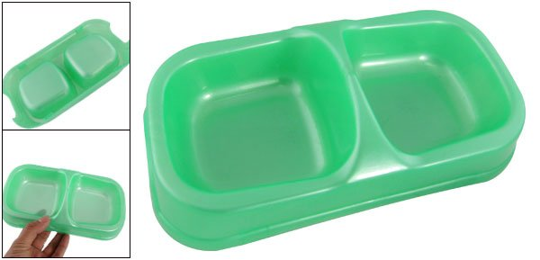 Dog Pet Food Water Double Bowl Plastic Feeding Dish Green
