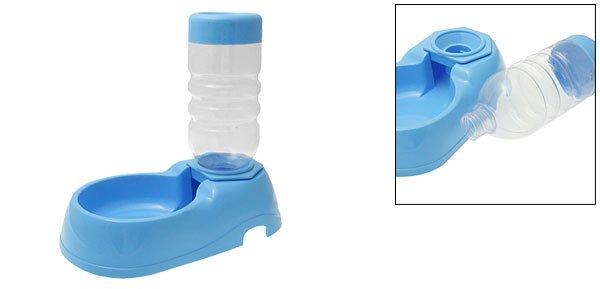 Portable Blue Plastic Travel Pet's Bowl Feeder Water Bottle