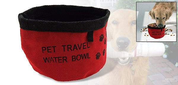 Pet Dog Cat Travel Portable Food Water Folding Bowl Red