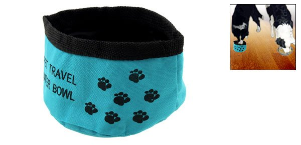 Travel Pet Dog Fold Up Travel Food & Water Bowl Blue