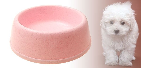 Round Cat Dog Pet Pink Solid Plastic Food Feeder Water Bowl Dish