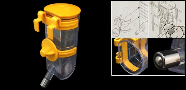 Cage Pet Puppy Gerbil Hamster Water Bottle Feeder Yellow