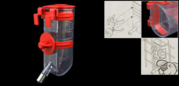 Red Cage Pet Puppy Gerbil Hamster Water Feeder Bottle