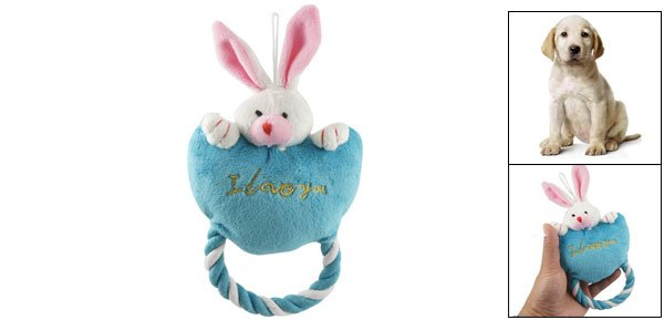 Blue Loving Heart Two-tone Ears Rabbit Roped Squeaky Toy for Pet Dog