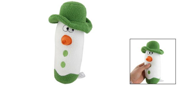 Pet Dog White Green Plush Snowman Bar Squeeze Squeaky Toy