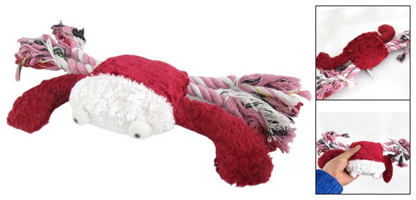 White Dark Red Big Crab Pet Fetch Catch Squeaky Toy