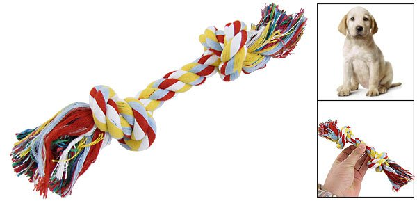 Pet Dog Colored Cotton Rope Knot Bone Chew Tug Training Toy