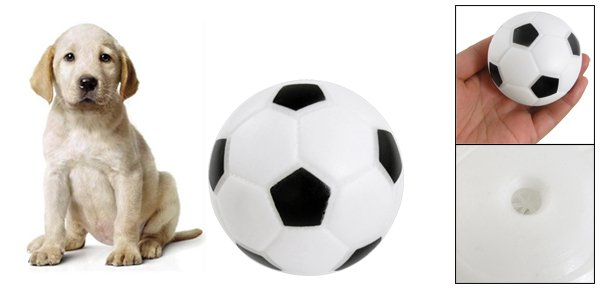 Black White Vinyl Rubber Football Shape Squeaky Toy for Pet Puppy