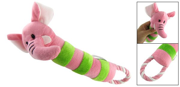 Soft Pink Green Ropped Flannel Plush Squeaky Toy for Pet Dog