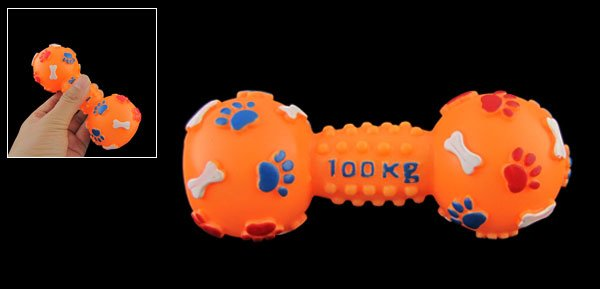 Orange Dumbbell Shaped Squeaky Chew Playing Toy for Dog